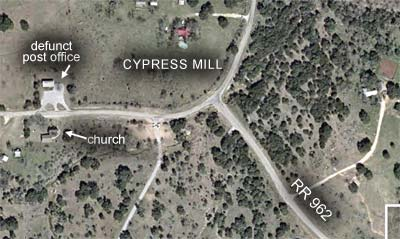 Map showing Cypress Mill