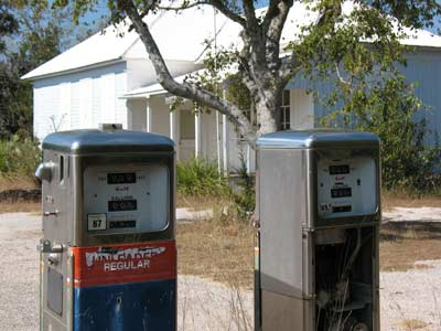 Post office and old gas pumps