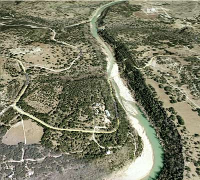 Overhead view of Pedernales River valley